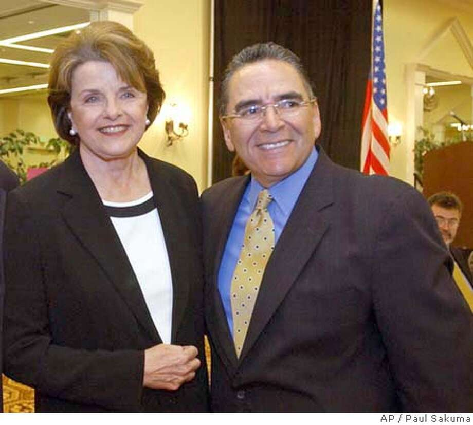 U.S. Sen. Dianne Feinstein, D-Calif., left, smiles with San Jose Mayor Ron Gonzales, right, during a meeting with Silicon Valley business leaders in San Jose, Calif., Wednesday, April 14, 2004 to discuss the flagging local economy, offshore outsourcing of jobs, tax issues and Internet access programs affecting the technology industry. Feinstein also talked about the latest developments in Iraq, the Sept. 11 Commission hearings and the growing federal deficit. (AP Photo/Paul Sakuma) San Jose Mayor Ron Gonzales is urging Washington to keep the BART project on track. Sen. Dianne Feinstein says only $30 million is expected to be spent to remove trees killed by bark beetles, though Congress has approved $120 million. Sen. Dianne Feinstein helped organize the bipartisan call by senators, which mirrors a letter sent by House members in April. Sen. Dianne Feinstein helped organize the bipartisan call by senators, which mirrors a letter sent by House members in April. Ran on: 06-26-2004 Nation#MainNews#Chronicle#6/8/2004#ALL#5star##0421718306 Photo: PAUL SAKUMA