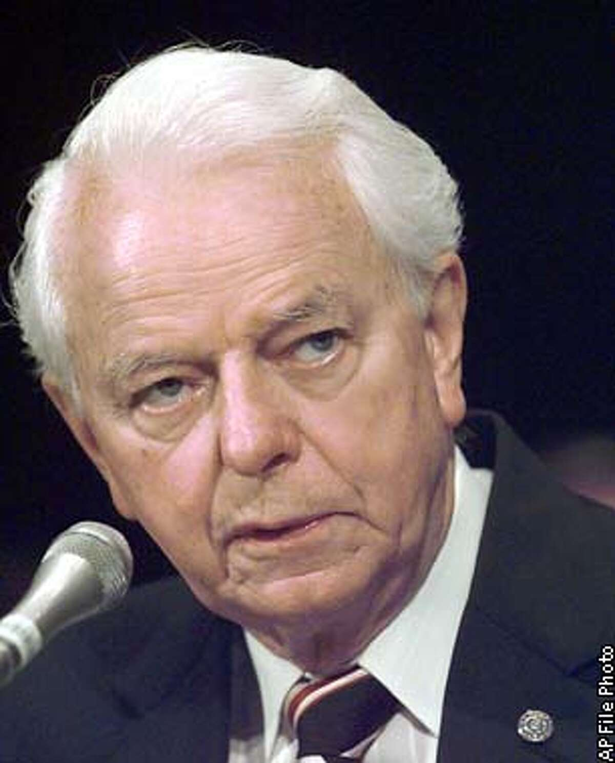 FILE-- Sen. Robert Byrd, D-W.Va. is shown in this Sept. 9, 1998, file photo. Byrd is giving up congressional immunity and paying a fine for causing a fender-bender on Mother's Day weekend. The office of the West Virginia Democrat told prosecutors that the 81-year-old senator doesn't want special treatment in the May 7, 1999 accident. Byrd was given a ticket for following too closely, but the citation was revoked under a constitutional provision that grants members of Congress immunity from arrest while Congress is in session, with few exceptions. (AP Photo/Joe Marquette/file) ALSO RAN 7/25/2001, 04/22/02, 8/4/02