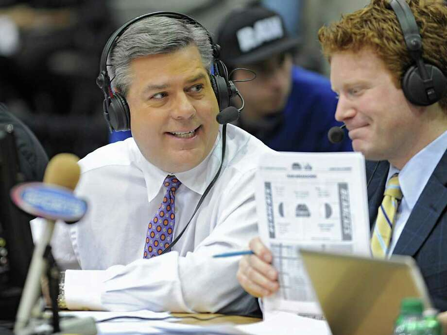 Roger Wyland broadcast for Time Warner Cable at the UAlbany vs. Binghamton basketball game at the SEFCU Arena Wednesday, Dec. 25, 2011 in Albany, N.Y.  (Lori Van Buren / Times Union) Photo: Lori Van Buren