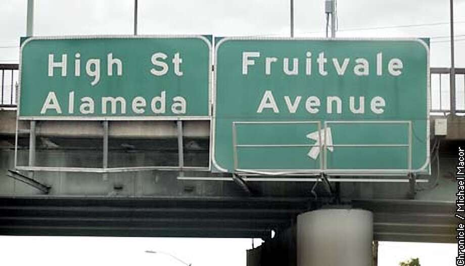 ChronWatch item. The High St. sign at the south bound I-880 in Oakland, appears to share the exit with Fruitvale Ave. The lower half of the High St. sign is missing, lacking an arrow or next exit marker to inform motorists. by Michael Macor/The Chornicle Photo: MICHAEL MACOR