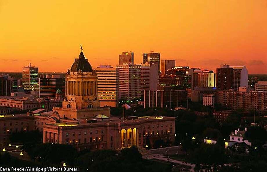The Manitoba Legislature building dominates the skyline of Winnipeg. Winnipeg Visitors Bureau photo by Dave Reede