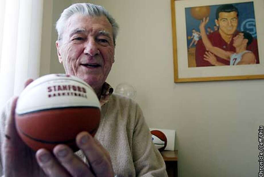 WHEREAREXXB-C-07JUN02-SP-JC-- Basketball hall of famer Hank Luisetti, Stanford class of 1938, recalls some of his basketball and personal memories at his home in Foster City on Friday afternoon. Photo by Jeff Chiu/The Chronicle