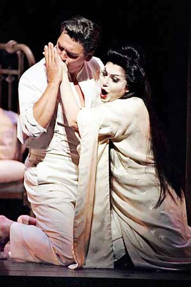 Zoran Todorovich (Lt. B.F. Pinkerton), Miriam Gauci (Cio-Cio-San) in SF Opera's Madame Butterfly.  Photo: Larry Merkle  (HANDOUT PHOTO) Photo: HANDOUT