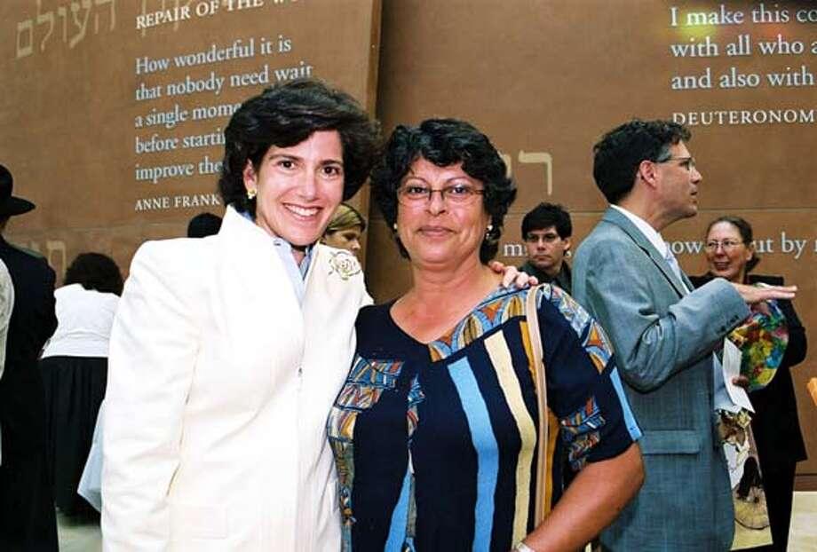 .JPG Laura Lauder (left) of Diller Education Awards and Hadassah Goldstein, and Grinspoon-Steinhardt award winner. / HANDOUT