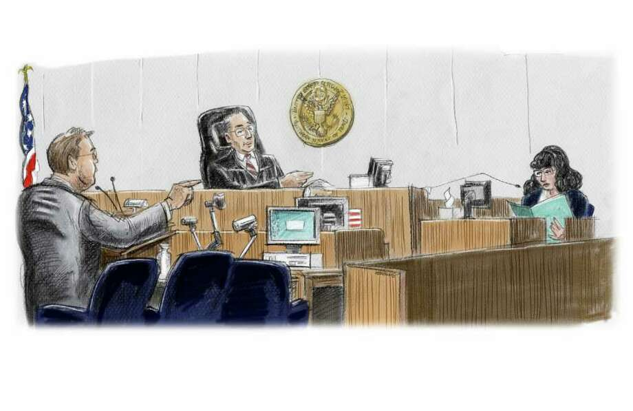 Assistant U.S. Attorney William Stellmach questions Michelle Chambliess, the first government witness in the trial of R. Allen Stanford, on Wednesday as U.S. District Judge David Hittner presides. She testified that Stanford fired her over the phone because she wasn't meeting her sales quota. Photo: Ken Ellis
