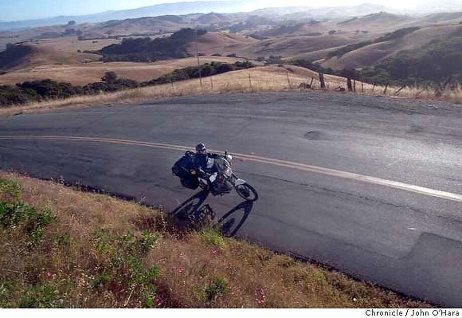SHORETOUR, Petaluma, Point Reyes Petaluma Road.  Paul McHugh on a ten day motorcycle tour through Calif. Oregon and Idaho.  Photo/John O'Hara Photo: John O'Hara