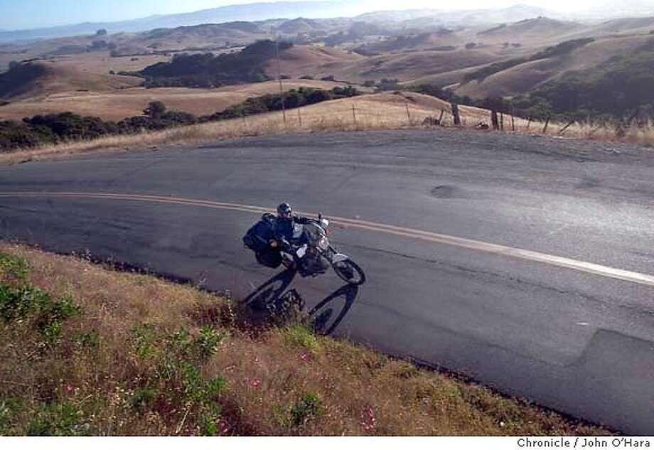 SHORETOUR, Petaluma, Point Reyes Petaluma Road.  Paul McHugh on a ten day motorcycle tour through Calif. Oregon and Idaho.  Photo/John O'Hara Photo: John O'Hara