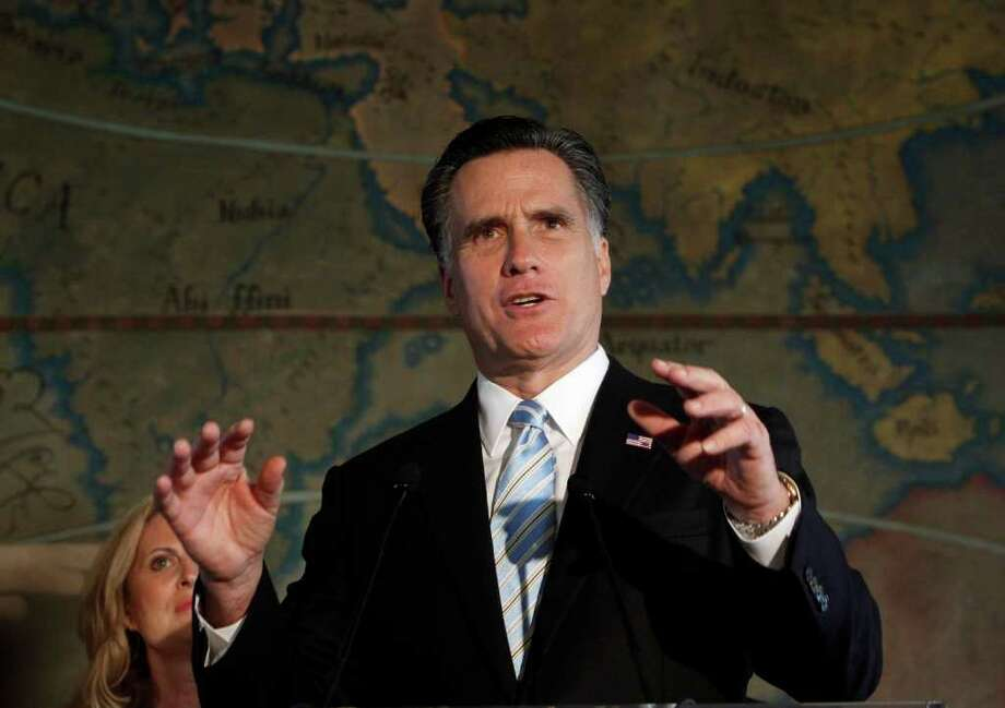 Republican presidential candidate, former Massachusetts Gov. Mitt Romney speaks at Miami-Dade College in Miami, Fla., Wednesday, Jan. 25, 2012.  (AP Photo/Paul Sancya) Photo: Paul Sancya