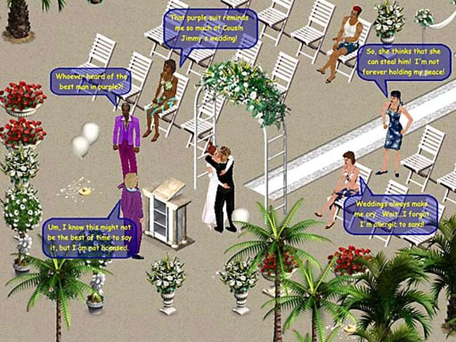 the wedding screen from the game SIMS ONLINE.  HANDOUT