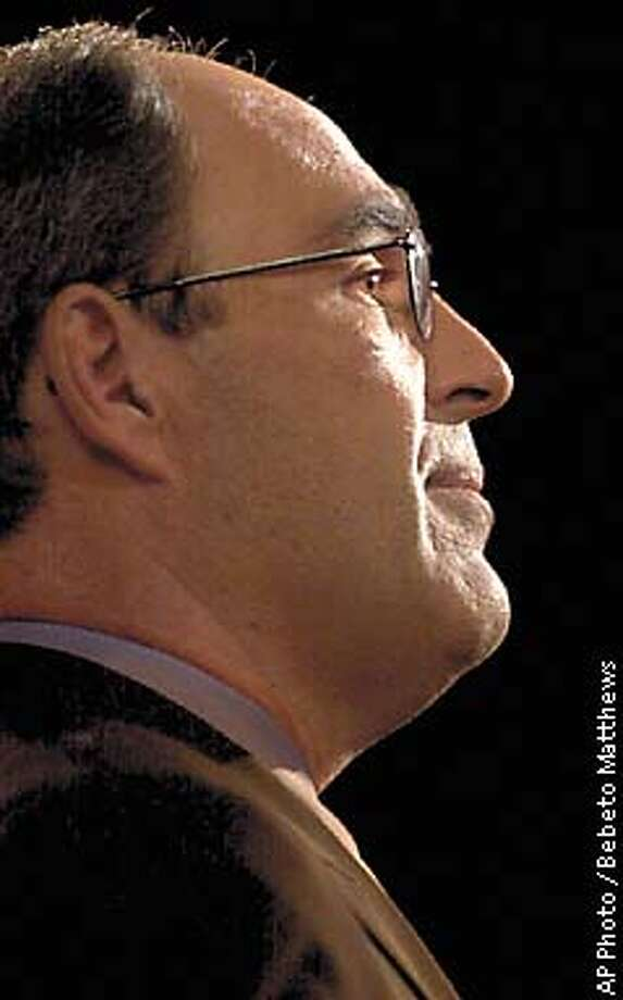 Michael Capellas, the new chairman and CEO of Worldcom, listens to questions during a press conference in New York, Friday Nov. 15, 2002. Capellas is the former president of Hewlett Packard Company, and prior to that, he was the chairman and CEO of Compaq Computer Corporation. ( AP Photo / Bebeto Matthews) Photo: BEBETO MATTHEWS
