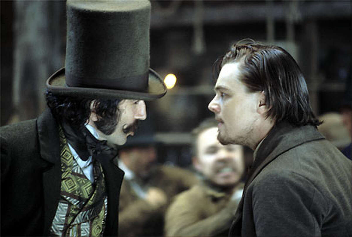 """Bill the Butcher (Daniel Day-Lewis, left) and the revenge-minded Amsterdam (Leonardo DiCaprio) in director Martin Scorsese's """"Gangs of New York."""""""