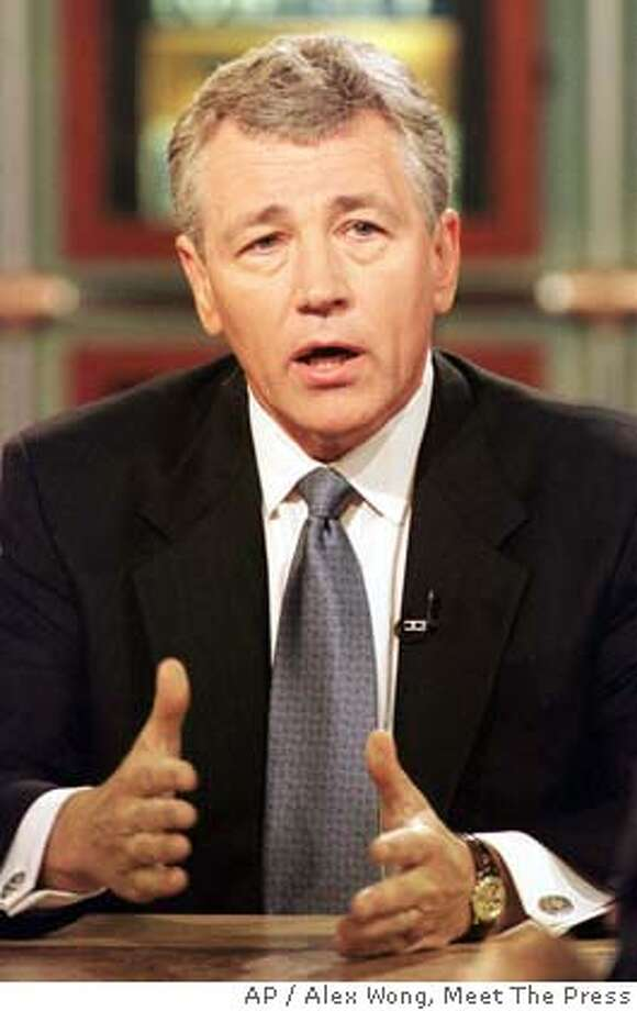 """Sen. Chuck Hagel, R-Neb. is shown on the NBC Television show """"Meet the Press,"""" Sunday, July 23, 2000 in Washington. (AP Photo/Meet The Press, Alex Wong) , NO ARCHIVE, MUST USE BY JULY 30, 2000, MANDATORY CREDIT: MEET THE PRESS) , NO ARCHIVE, MUST USE BY JULY 30, 2000, MANDATORY CREDIT: MEET THE PRESS) Photo: ALEX WONG"""