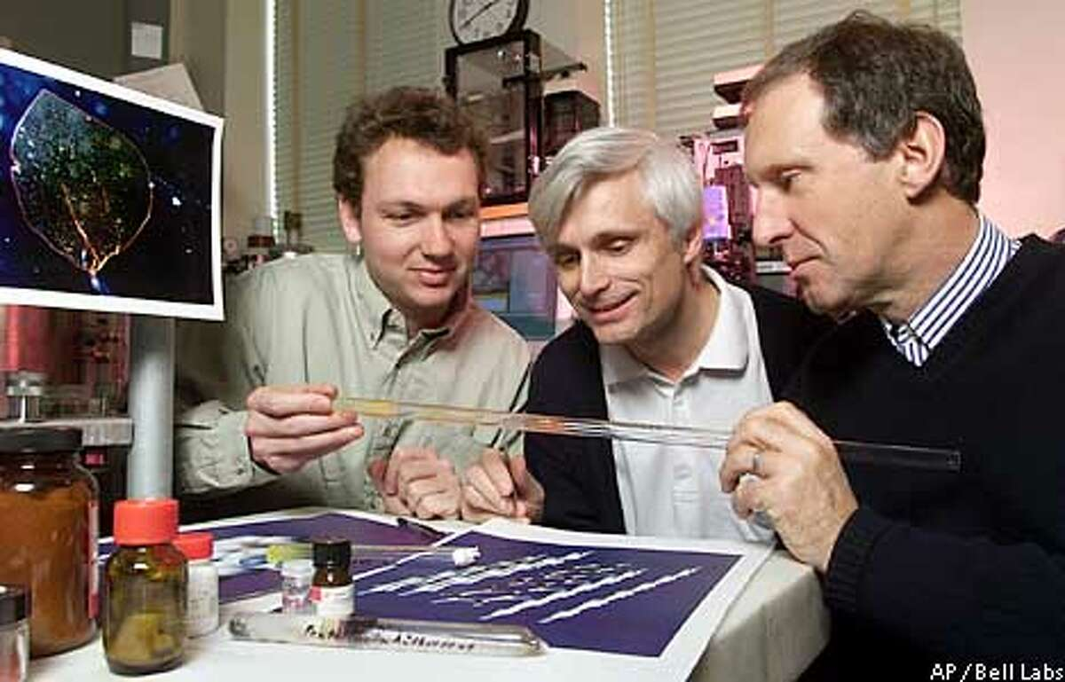 ** ADVANCE FOR SUNDAY, SEPT. 29 **Research scientist Jan Hendrik Schon, left, appears at Lucent Technologies' Bell Laboratories in Murray Hill, N.J., with scientists Christian Kloc, center, and Bertram Batlogg, in this March 30, 2000 publicity photo. Batlogg, a condensed-matter physicist, had recruited both Schon and Kloc for the lab. A panel of distinguished scientists now is looking into allegations that some Schon's impressive results may have been fabricated. (AP Photo/Bell Labs,ho)