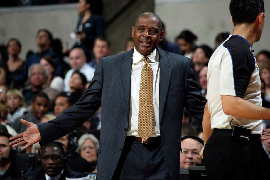 Atlanta Hawks Head Coach Larry Drew disagrees with a call during the second half against the San Antonio Spurs at the AT&T Center, Wednesday, Jan. 25, 2012. The Spurs won 105-83. Jerry Lara/San Antonio Express-News Photo: Jerry Lara, Express-News / © San Antonio Express-News