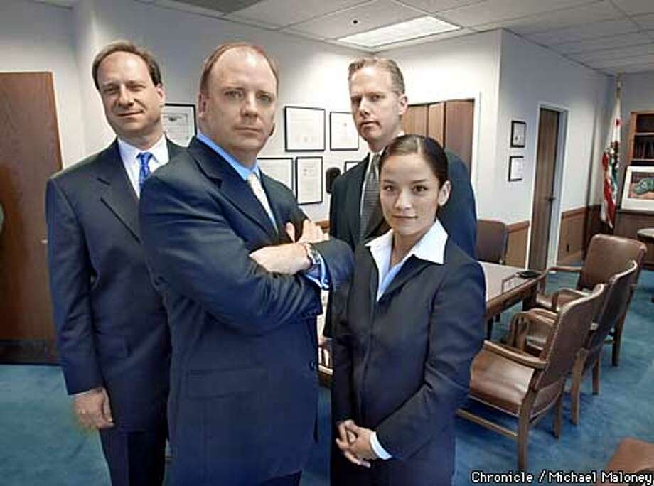 The federal prosecution team that will probe whether energy companies manipulated the California power market during the energy crises in 2000 and 2001. From left : Matthew Jacobs, Kevin Ryan, Patrick Robbins and Lisa Tenorio-Kutzkey.  CHRONICLE PHOTO BY MICHAEL MALONEY Photo: MICHAEL MALONEY