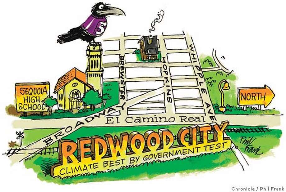 Redwood City. Chronicle illustration by Phil Frank