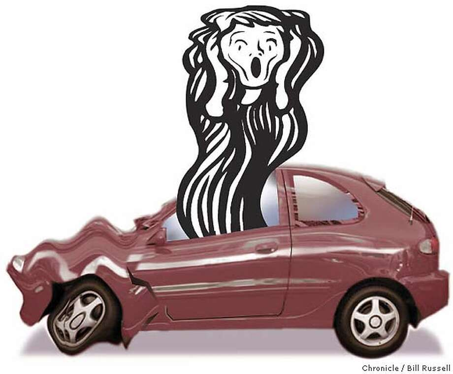 Driving Me Mad: How one fender-bender dredges up a history of car hatred. Chronicle illustration by Bill Russell