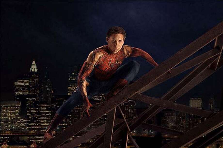 "Tobey Maguire is back as the web-spinning superhero in ""Spider-Man 2."""