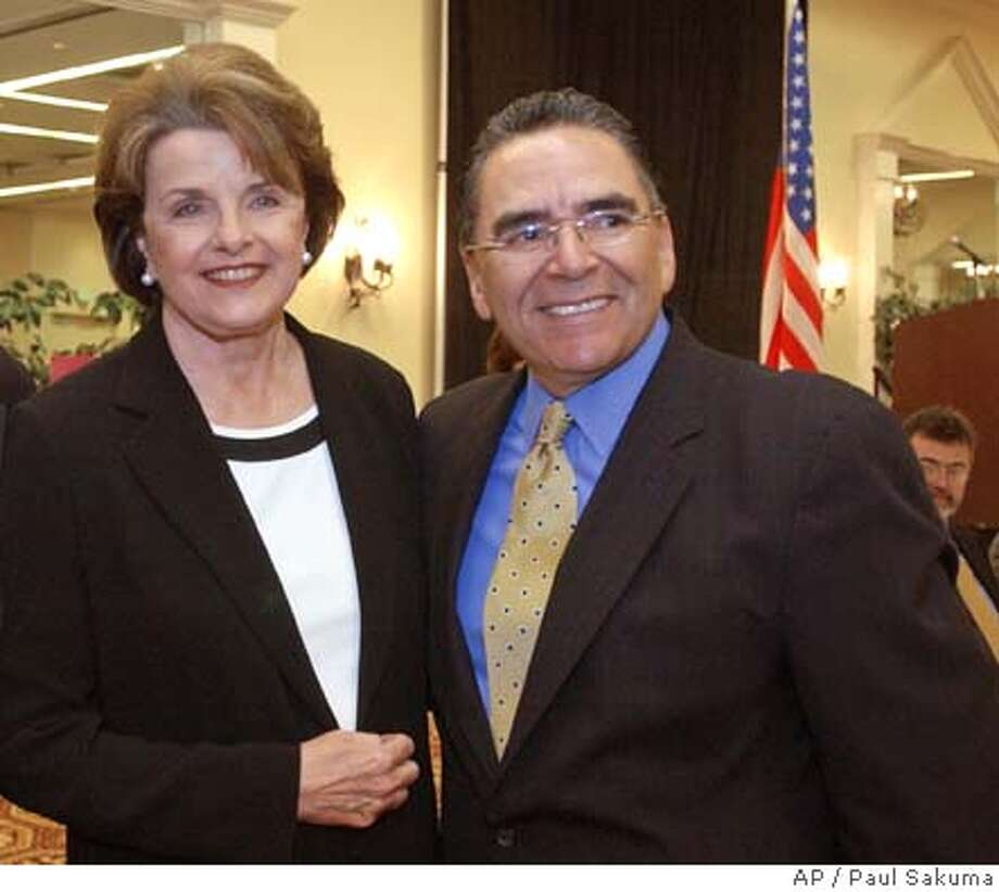 U.S. Sen. Dianne Feinstein, D-Calif., left, smiles with San Jose Mayor Ron Gonzales, right, during a meeting with Silicon Valley business leaders in San Jose, Calif., Wednesday, April 14, 2004 to discuss the flagging local economy, offshore outsourcing of jobs, tax issues and Internet access programs affecting the technology industry. Feinstein also talked about the latest developments in Iraq, the Sept. 11 Commission hearings and the growing federal deficit. (AP Photo/Paul Sakuma) San Jose Mayor Ron Gonzales is urging Washington to keep the BART project on track. Sen. Dianne Feinstein says only $30 million is expected to be spent to remove trees killed by bark beetles, though Congress has approved $120 million. Sen. Dianne Feinstein helped organize the bipartisan call by senators, which mirrors a letter sent by House members in April. Sen. Dianne Feinstein helped organize the bipartisan call by senators, which mirrors a letter sent by House members in April. Nation#MainNews#Chronicle#6/8/2004#ALL#5star##0421718306 Photo: PAUL SAKUMA