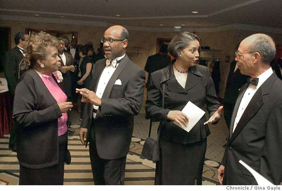 CIRCUIT3001f-C-22FEB03-MG-GG - Rev. Edgar Boyd (2nd from left) head pastor of Bethel AME church talks with Mrs. Frankie Gillette as his wife Mrs. Florence Boyd talks with Mr. Maxwell Gillette during the cocktail hour at the 150th anniversary gala held at the Argent Hotel. Photo by Gina Gayle/The SF Chronicle. Photo: GINA GAYLE
