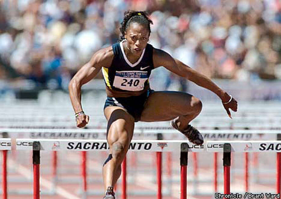 Gail Devers got a great start in the second heat of the 100-meter hurdles semifinal. Chronicle photo by Brant Ward