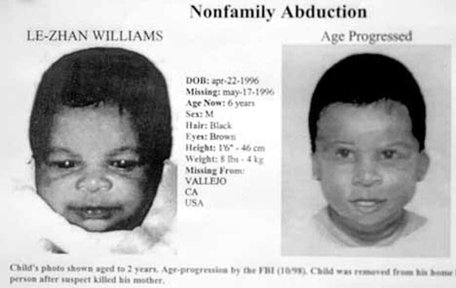 PHOTO BY KATY RADDATZ--THE CHRONICLE  Another suspect arrested in the 1996 murder of Daphne Boyden and the kidnap of her infant son, Le-Zhan Williams. SHOWN: abduction poster of Le-Zahn Williams. Photo: KATY RADDATZ