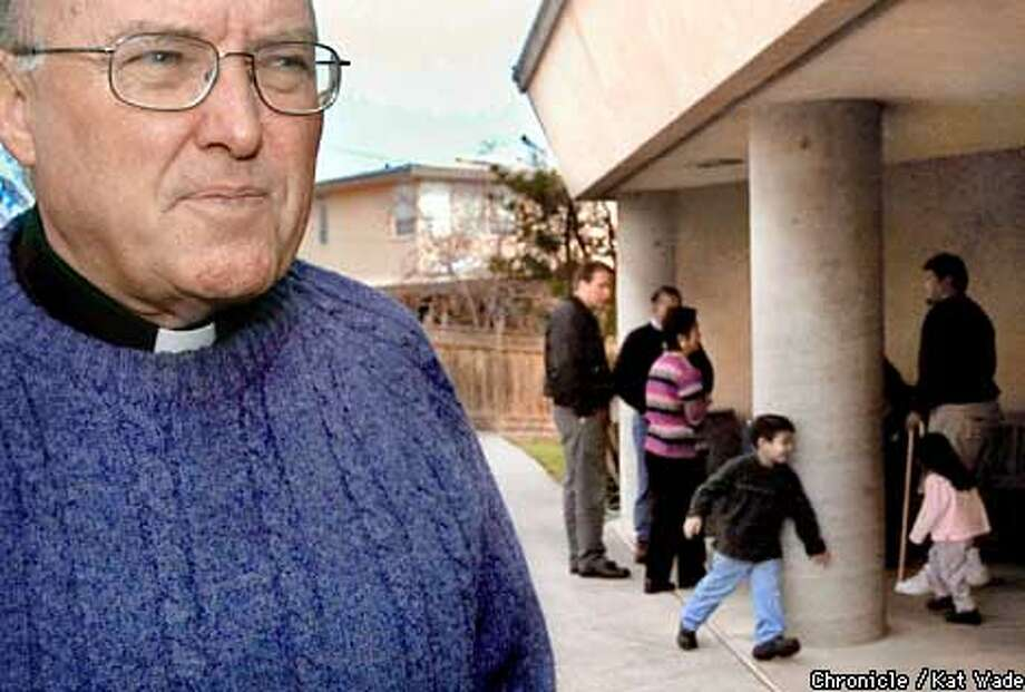While parrishner's children chase each other around a church pilar, Father Brian Joyce (left), the pastor of Christ the King Catholic church in Pleasant Hill reflects over the current situation faced by the Catholic Church regarding the financial woes of the church if further child sexual abuse law suits are filed under the new law abolishing the moritorium. SAN FRANCISCO CHRONICLE PHOTO BY KAT WADE Photo: KAT WADE
