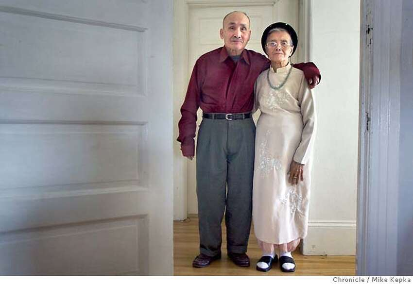 Dinh Ngoc Tran, 86, (left) and his wife Nhan Thi Tran, 84, have together since they were set up by a matchmaker in 1932. 5/22/04 in Oakland. Mike Kepka / The Chronicle