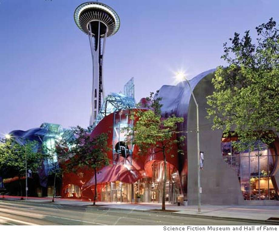 """The exterior of Seattle's new Science Fiction Museum and Hall of Fame, in this undated photo, is set to open on June 18, 2004. The new museum, dedicated to the literature, film and television of science fiction is filled with exhibits and artifacts on the literature and film of outer space, time travel and aliens. Included are the first edition of H.G. Well's """"Time Machine"""" and the Alien queen from the movie """"Alien."""" REUTERS/Science Fiction Museum and Hall of Fame/Handout Ran on: 06-21-2004  The Science Fiction Museum and Hall of Fame in Seattle opened to the public on Friday. In the background is the Space Needle. Photo: HO"""