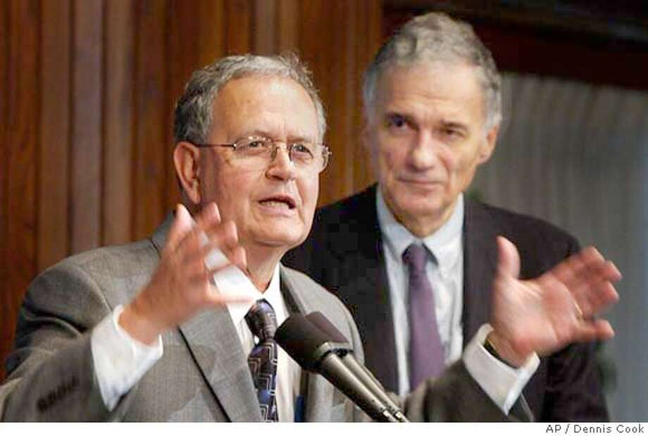 California businessman Peter Miguel Camejo talks to reporters in Washington Monday, June 21, 2004, after being picked by Independant presidential candidate Ralph Nader, right, as his running mate (AP Photo/Dennis Cook). Photo: DENNIS COOK