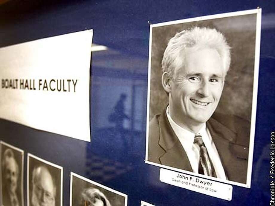 DWYER1-C-03DEC02-MT-FRL: The head of the UC Berkeley Law School John Dwyer, 50, announnced Wednesday that he would leave Boalt Hall School of Law after a woman who is a former Boalt student filed a sexual harassment complaint against him. Chronicle photo by Frederic Larson