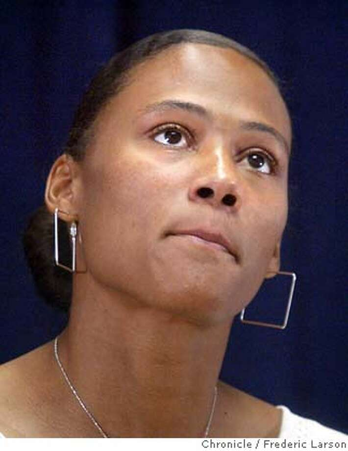 """; Olympic champion runner Marion Jones called Wednesday at a S.F press conference for a public hearing in her campaign to clear her name and prevent drug allegations from keeping her out of the Athens Games. """"I am not going to engage in the United States Anti-Doping Agency's secret kangaroo court. I will answer questions in a public forum that will be open for the entire world to see, hear and evaluate,"""" Jones declared at a news conference in San Francisco. The USADA is investigating Jones for possible violations of rules banning performance-enhancing drugs. Jones met with USADA officials last month to discuss possible drug evidence against her, and received a letter from the agency last week asking follow-up questions. 6/16/04  San Francisco Chronicle Frederic Larson Photo: Frederic Larson"""