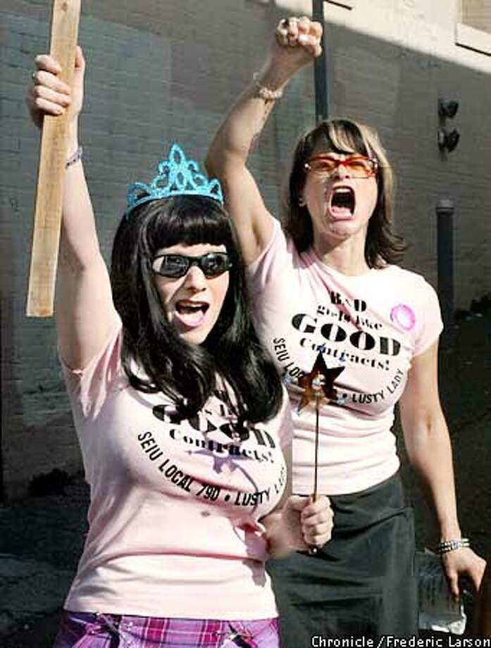 """LUSTYLADY-C-02DEC02-MT-FRL: """"Lusty Lady"""" of SF employees (Natasha left) have been unionized since 1996 and are protesting the fact they suffered $3/hour in unsubstantiated pay cuts, reduced work hours, scarcity of available shifts and an impending elimination of sick pay. Chronicle photo by Frederic Larson Photo: FREDERIC LARSON"""
