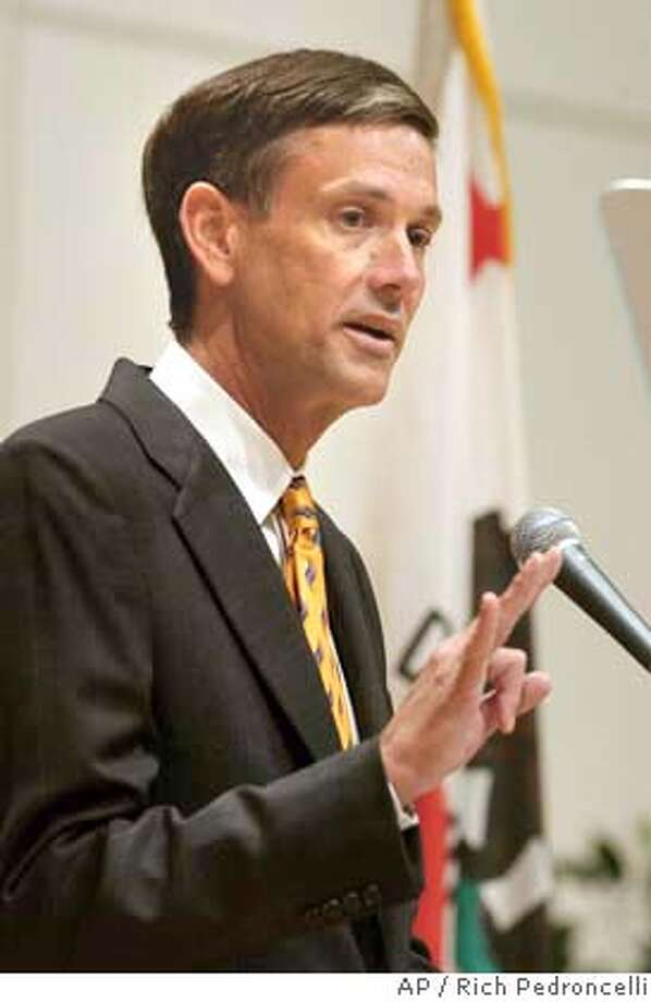 "State schools chief Jack O'Connell calls for a renewed push to improve the state's high schools while delivering his first ""State of Education in California"" address in Sacramento, Calif., Wednesday, Feb. 11, 2004. (AP Photo/Rich Pedroncelli) ProductName	Chronicle Photo: RICH PEDRONCELLI"