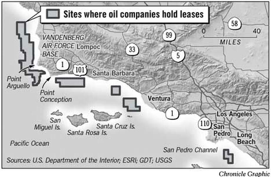 Sites Where Oil Companies Hold Leases. Chronicle Graphic