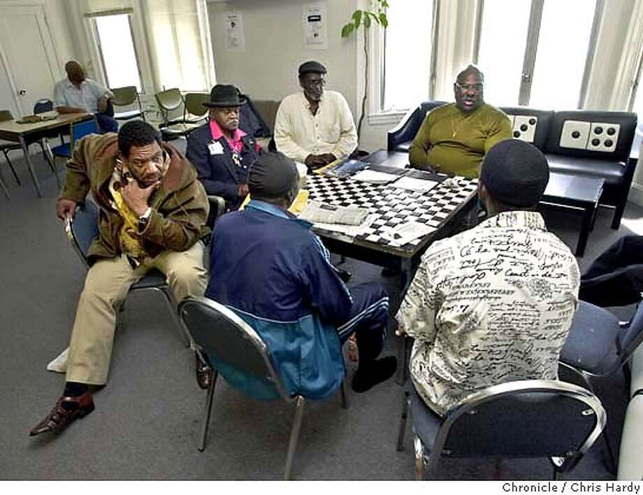 Seniors home in the Bayview holds meetings for ex criminials that have been incarcerated most of their lives. The newly released senior prison imates live in a house and learn how to function in society again, they also provide servivces for old inmates living with relatives  at San Francisco,CA on 6/8/04  San Francisco Chronicle/Chris Hardy Photo: Chris Hardy