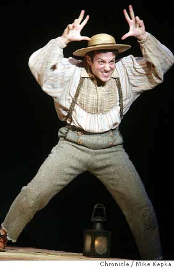 """Tyrone Giordano as Huckleberry Finn in a preview performance of """"Big River"""" at the Curran theater in San Francisco.6/11/04 in San Francisco. Mike Kepka / The Chronicle Photo: Mike Kepka"""
