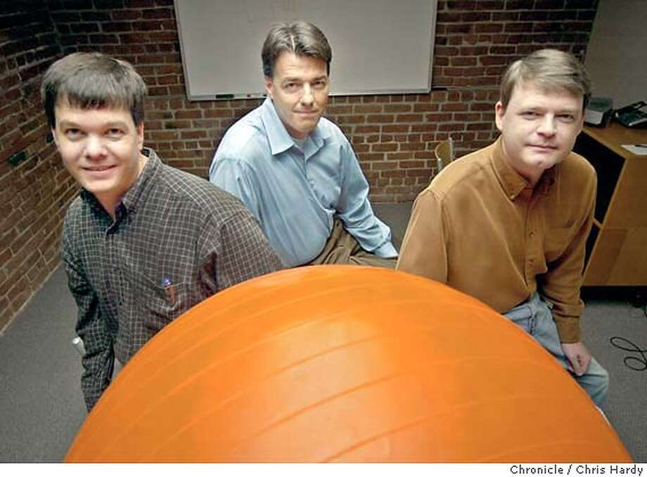 Jake McGovern, Colin Morris and Derek Evans are partners in Rolling Orange, a San Mateo based Web developer that created the site for the San Francisco's Symphony's new Keeping Score program.  at San Mateo,CA on 6/10/04  San Francisco Chronicle/Chris Hardy Photo: Chris Hardy