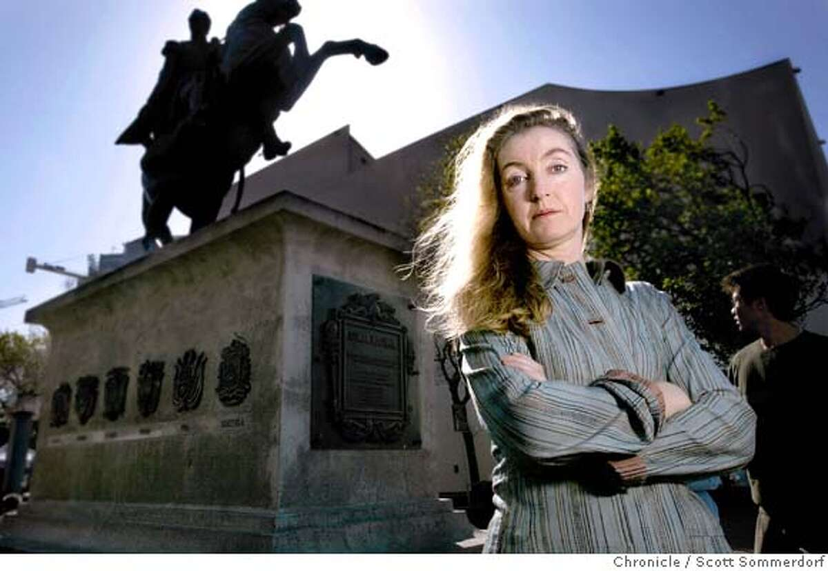 Author Rebecca Solnit near the Simor Bolivar statue in UN Plaza near Fulton St. Solnit is winning literary awards right and left (most recently for a biography of photographer Eadweard Muybridge). She is an environmental activist, art critic, and author whose sense of place is central to all her writing. Her newest work -