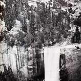 Eadward Muybridge photo of waterfall in Yosemite Valley