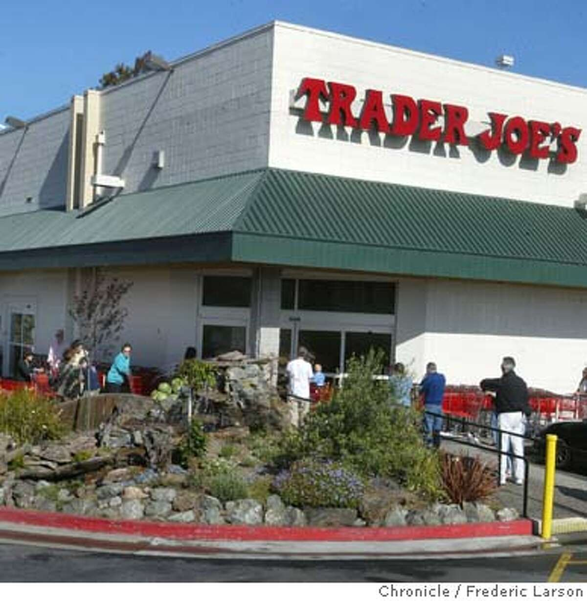 ; Trader Joe's is considering a new location in the Castro, on 15th Street and Market. The reaction so far is mixed. Some like the idea of an alternative to Safeway and Cala, while others worry about traffic back-ups similar to the Trader Joe's on Masonic and Geary (in the photo). 6/11/04 San Francisco Chronicle Frederic Larson