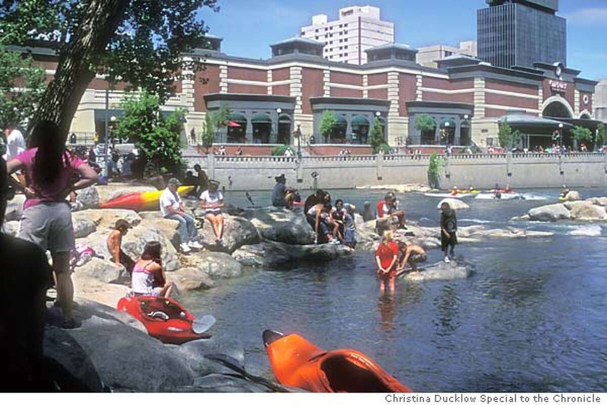 Reno's new Truckee River Whitewater Park on 6/9/04 in San Francisco. Christina Ducklow / HO