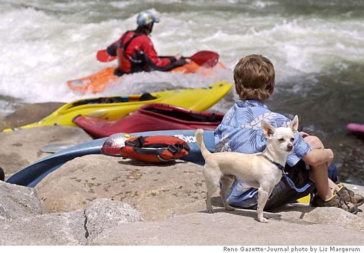 Dane Jackson,10, of Walling, Tenn., right, watches kayakers as Ren keeps watch Friday, May 14, 2004, in Reno, Nev. Jackson's father is a world-class kayaker invited to Reno for the official opening of the Truckee River Whitewater Park in downtown. (AP Photo/Reno Gazette-Journal, Liz Margerum)