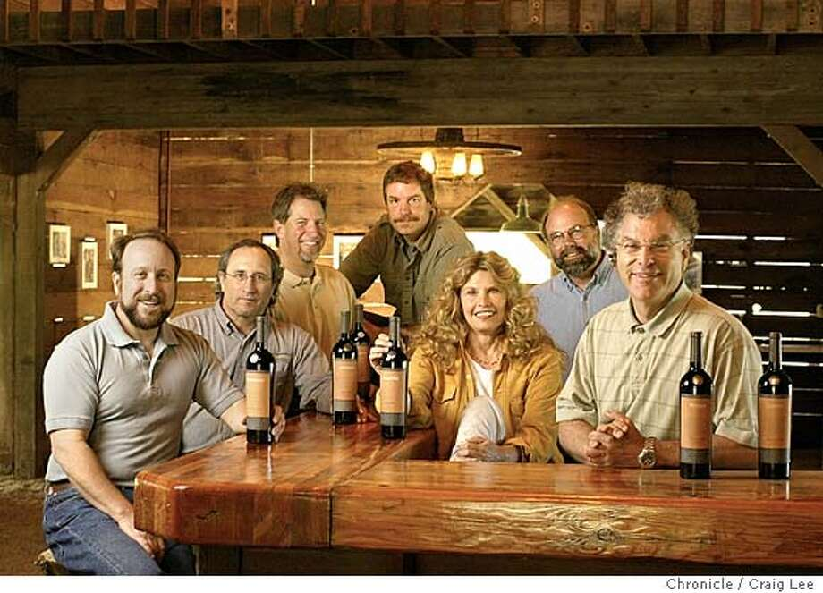 Left-right: Sam Garbrielli, Greg Graziano, Fred Nickel, Casey Hartlip, Sally Ottoson, Bob Swain, and Dennis Patton. Eight Mendocino County wineries have created a group called Coro (chorus in Spanish and Italian), which like the French and Italians, Coro has established rules blending and aging wines that will carry the Coro label. There are seven winemakers (one works for two labels). Event on 5/21/04 in Hopland. Craig Lee / The Chronicle Photo: Craig Lee