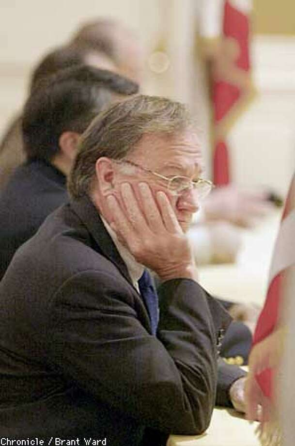 Federal mediator Peter Hurtgen listened to the remarks by union leaders at the Omni Hotel Sunday...Hurtgen announced an agreement in the West coast ports dispute. By Brant Ward/Chronicle Photo: BRANT WARD