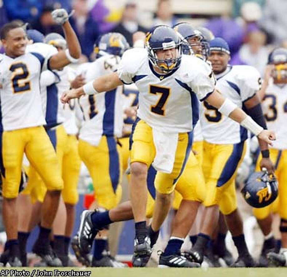 California quarterback Kyle Boller (7) along with others on the team react to the 34-27 win over Washington in Seattle Saturday, Oct. 5, 2002. (AP Photo/John Froschauer) Photo: JOHN FROSCHAUER