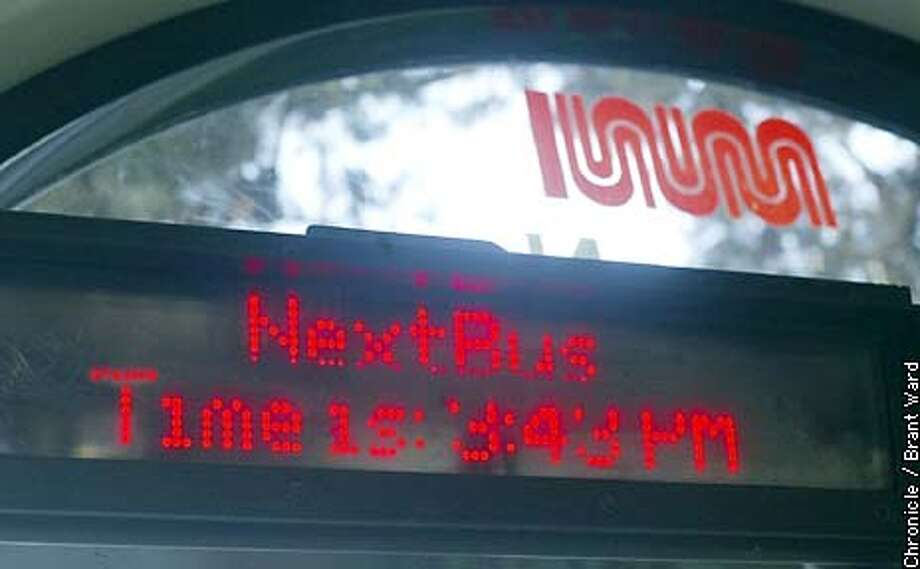 """Muni """"Next Bus"""" sign at the bus shelter at Carl and Hillway Streets has the wrong time...it is an hour fast and never says when next bus arrives. By Brant Ward/Chronicle Photo: BRANT WARD"""