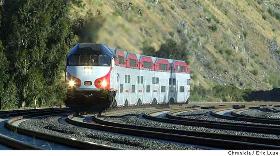 Near South San Francsico. Caltrain begins its Baby Bullet express service Monday morning and we'll check it out to see whether it really can make it up and-or down the Peninsula in 57 minutes. Event on 6/7/04 in San Francisco. Eric Luse / The Chronicle Photo: Eric Luse