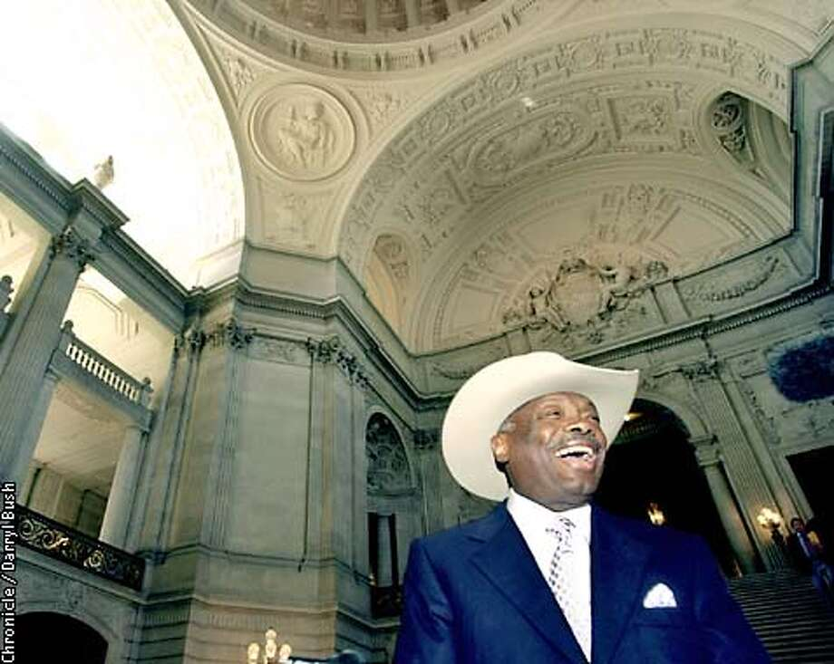 MAYORA-C-31OCT02-MT-DB At City Hall, Mayor Willie Brown sports his new cowboy hat he must wear because he lost a World Series bet to Amaheim's mayor.CHRONICLE PHOTO BY DARRYL BUSH