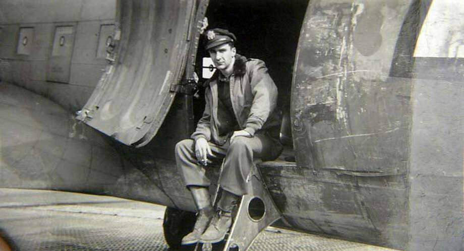 San Franciscan Lew Johnston, shown in 1944, flew C-47 transport planes -- slow, unarmed aircraft known as Gooney Birds -- over Europe just after D-Day, carrying troops and supplies. Photo courtesy of Lew Johnston